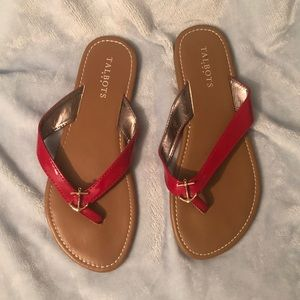 TALBOTS Red Flip Flops with Anchor